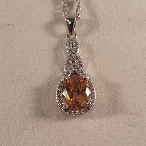 Jewelry - 18K WGF Morganite Topaz Zircon Pendant Necklace
